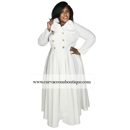Esther Winter White Double Breast Coat Dress