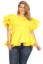 Yellow Tia Peplum Top
