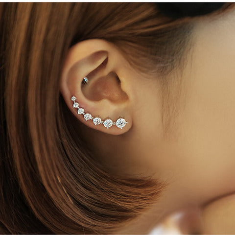 SAMPURCHASE shiny crystal 925 sterling silver ladies`stud earrings jewelry gift