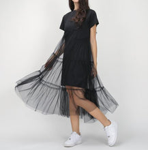 sampurchase TWOTWINSTYLE Summer Korean Splicing Pleated Tulle T shirt Dress Women Big Size Black Gray Color Clothes New Fashion 2017