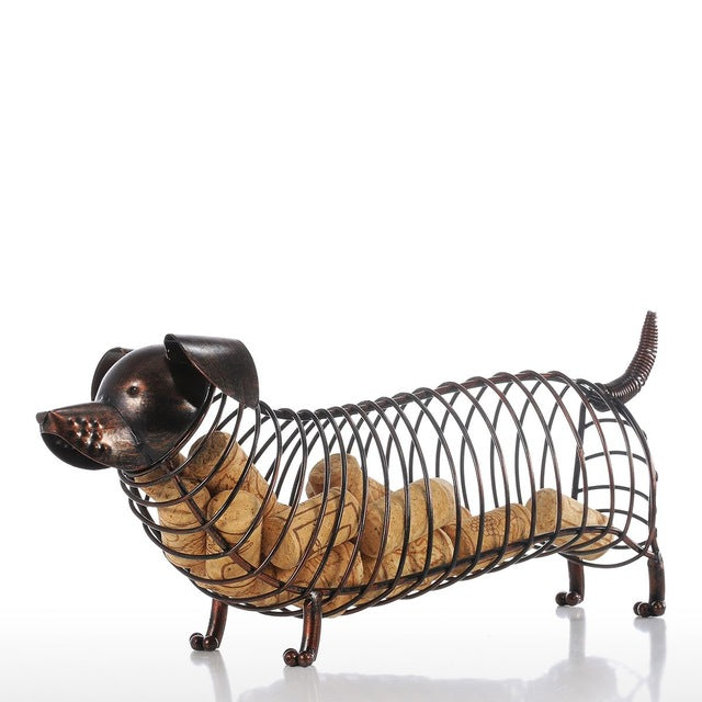 sampurchase Tooarts Metal Animal Figurines Dachshund Wine Cork Container Modern Artificial Iron Craft Home Decoration Accessories Gift