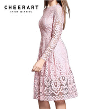 sampurchase cheerart High Quality Women Bohemian White Lace Autumn Crochet Casual Long Sleeve Plus Size Pink/White/Black/Red Dress Clothing
