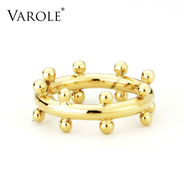 sampurchase VAROLE Double Row Ball Arrangement Rings Gold Color Midi Ring 100% Copper Ring Knuckle Rings For Women anel Jewelry