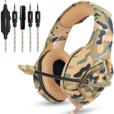 sampurchase ONIKUMA K1 Camouflage PS4 Headset Bass Gaming Headphones Game Earphones Casque with Mic for PC Mobile Phone New Xbox One Tablet