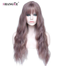 "sampurchase SHANGKE 26"" Long Mix Purple Womens Wigs with Bangs Heat Resistant Synthetic Kinky Curly Wigs for Women African American"