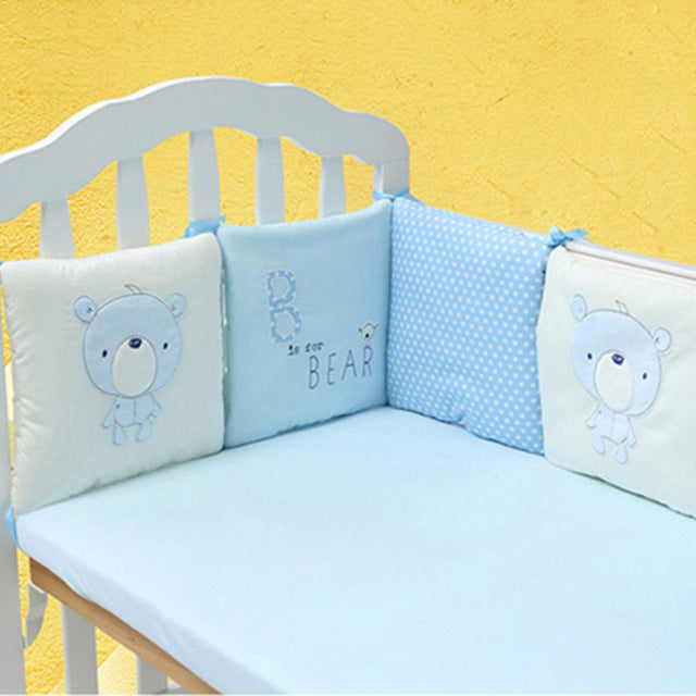 sampurchase  6Pcs/Lot Baby Bed Bumper Protector Baby Bedding Set Newborn Crib Bumper Toddler Cartoon Bed Bedding in the Crib for Infant