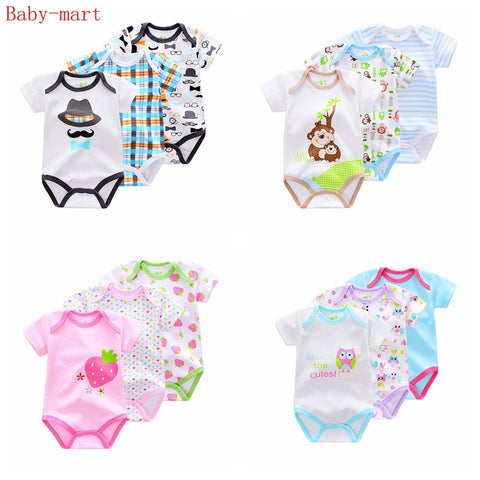 sampurchase 3 Pieces/lot Brand Summer Baby Boys Romper Animal style Short Sleeve cotton infant rompers Jumpsuit cotton Baby Newborn Clothes