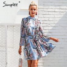 sampurchase Simplee Backless lace up summer dress women Flare sleeve floral print chiffon dress Beach casual short dress robe femme 2018