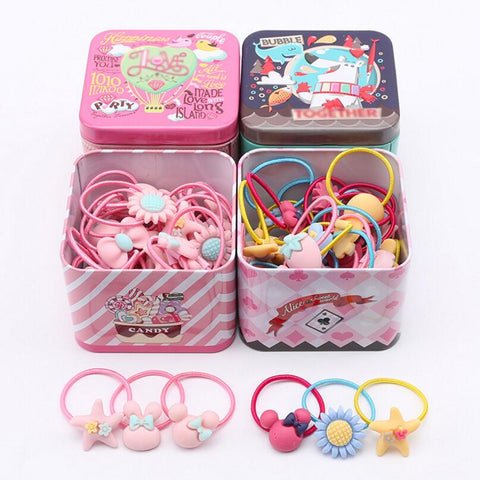 sampurchase New 40pcs Elastic Rubber hair bands Girls Kitty floral ponytail holder headband Cartoon mixing elastic hair ring accessories Q18