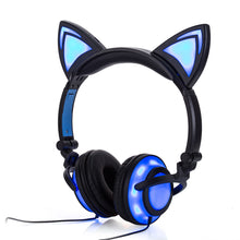 sampurchase JINSERTA 2018 Cat Ear headphones LED Ear headphone cat earphone Flashing Glowing Headset Gaming Earphones for Adult and Children