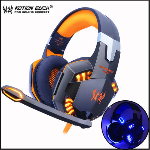 sampurchase KOTION EACH  Gaming Headset game Headphones Deep Bass Stereo Earphone with LED light  Microphone mic for PC Laptop PS4 Xbox