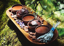 Load image into Gallery viewer, Ceremonial cacao from The Chakra Box for chakra healing and crystal healing featuring essential oils, precious stones, and an herbal bundle