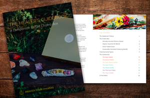 The Healers Guidebook, a 40-page companion to The Chakra Box for chakra healing and crystal healing featuring essential oils, precious stones, and an herbal bundle