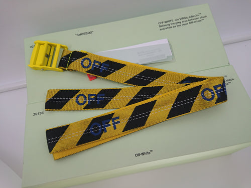 Off White Diagonal Industrial Belt - Yellow