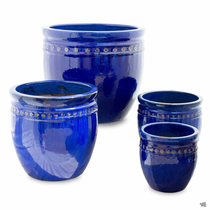 Decor Pot with Pattern - All 4 Sizes in Blue