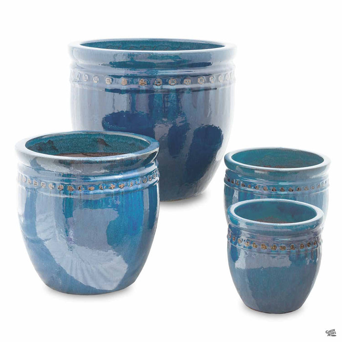 Decor Pot with Pattern - All 4 Sizes in Teal