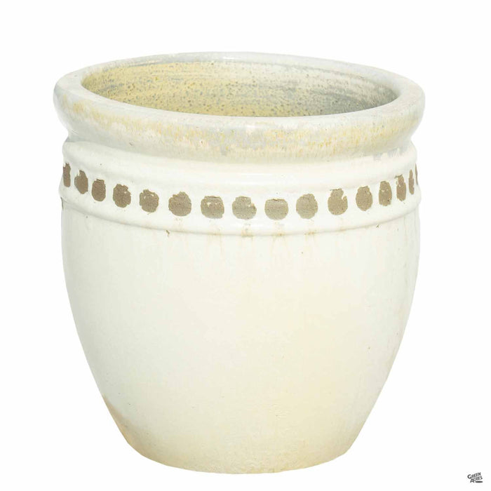 Decor Pot with Pattern - Size 4 in White