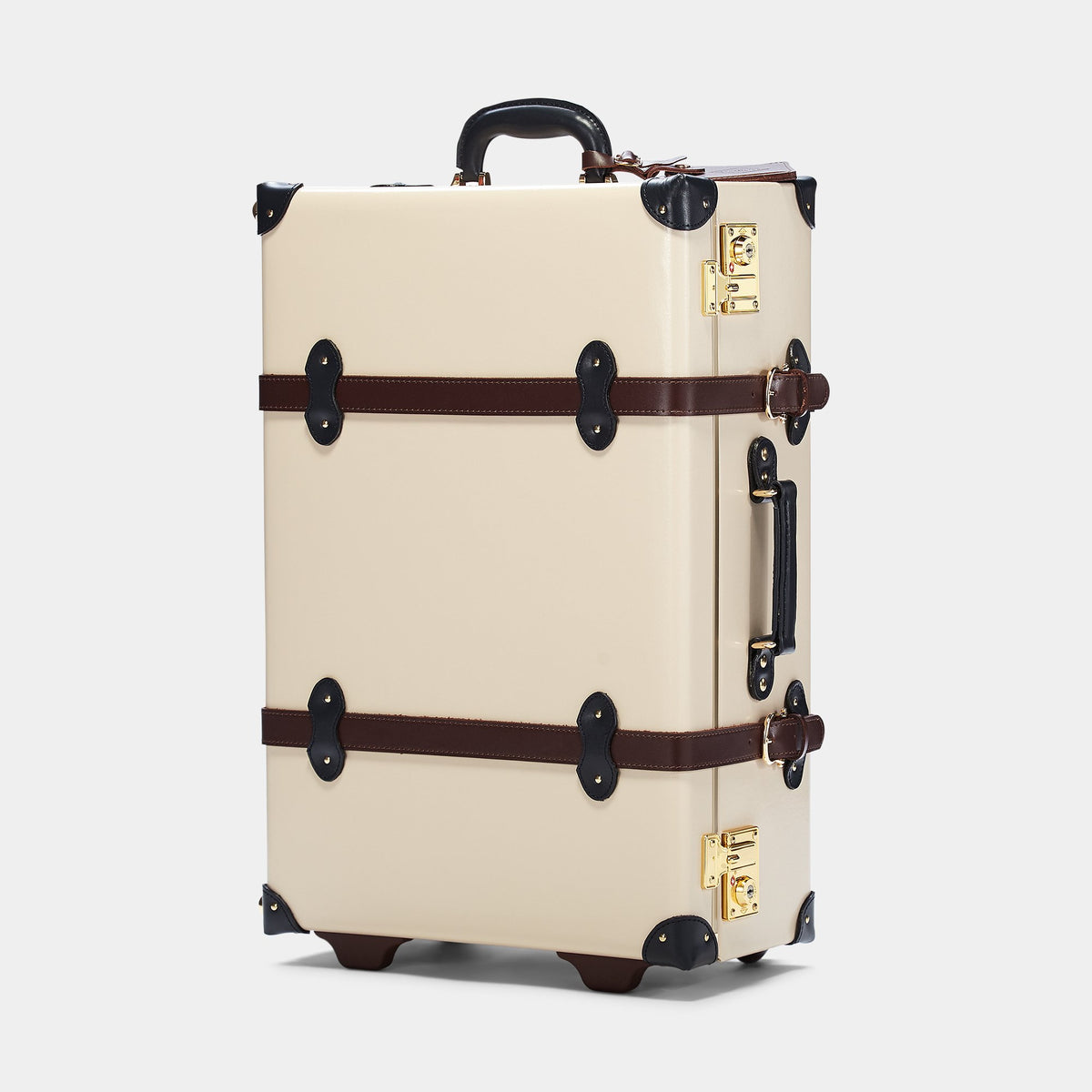 The Architect Stowaway in Cream -Vintage Style Leather Case - Exterior Front