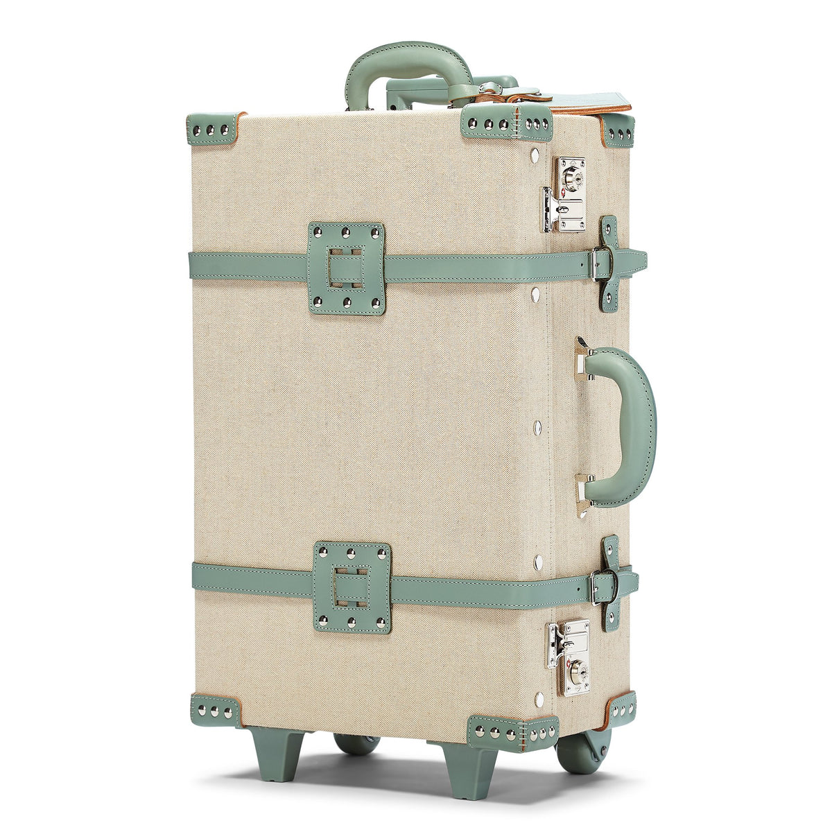 The Editor Stowaway in Seagreen - Hat Box Luggage - Exterior Front