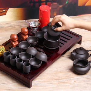 Traditional Chinese Tea Tray w/ Clay Service Set