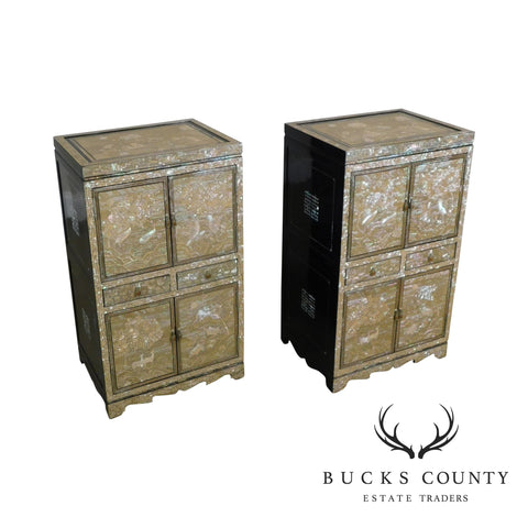 Exquisite Pair Asian Mother of Pear Inlaid Black Laquer Side Chests Nightstands