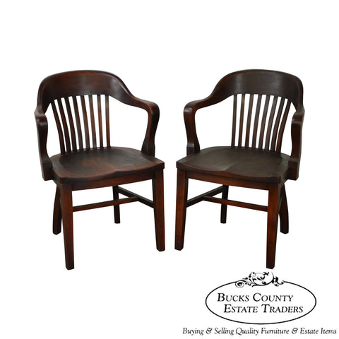 Antique Pair of Bank of England Style Arm Chairs by The Sikes Co. (AA)