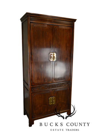 Henredon Villa Borghese Collection Asian Inspired Mahogany Tall Armoire Cabinet