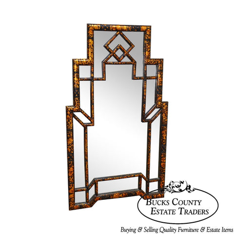 Carvers Guild Faux Tortoise Shell Painted Asian Inspired Wall Mirror