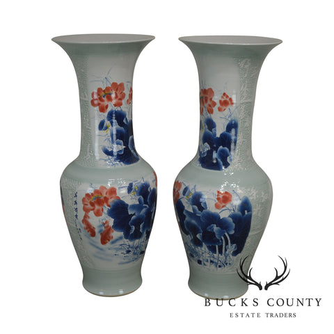 "Chinese Asian Porcelain 50"" Tall Pair Palace Vases"