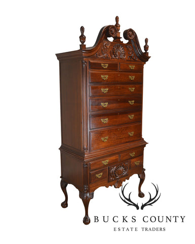 Georgian Furnishing Co. Chippendale Style Carved Solid Mahogany Hand Made Ball & Claw Highboy