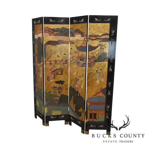 Vintage Asian Chinoserie Coromandel Lacquered Folding Screen