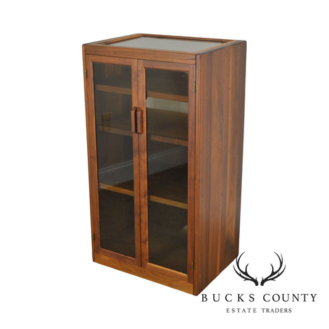 Danish Modern Style Custom Crafted Solid Walnut Stereo Component Rack Cabinet