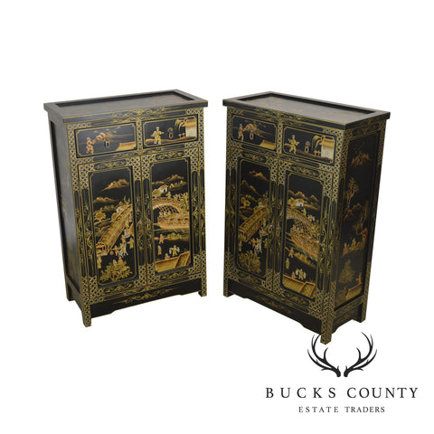 Black & Gold Chinoserie Painted Asian Pair Cabinets
