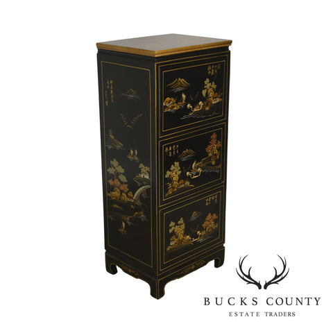 Chinoserie Painted Black & Gold Asian 3 Drawer File Cabinet