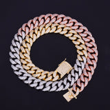 12mm Iced Stainless Steel Multicolored Cuban Chain