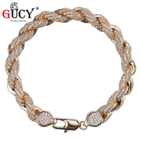 8mm Iced Stainless Steel Rope Bracelet