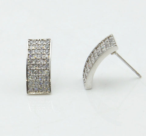 Iced Curved Rectangular Earrings
