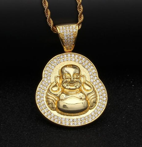 Iced Laughing Buddha Pendant
