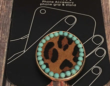 Load image into Gallery viewer, Leopard Hide/Turquoise Phone Grip Holder/Stand