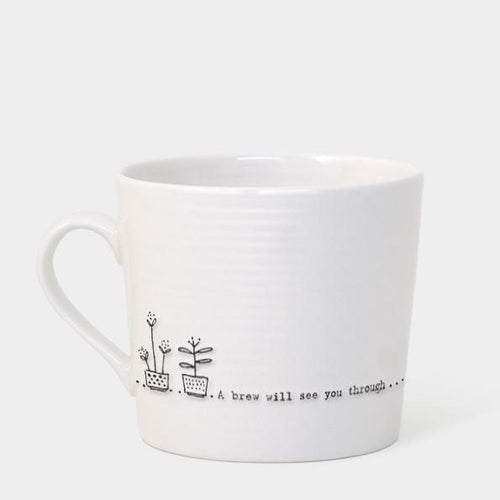 East of India Porcelain Mug - A Brew Will See You Through - Daisy Park