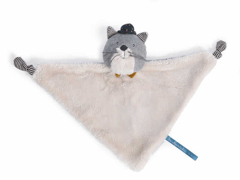 Moulin Roty Les Moustaches Fernand light grey cat comforter