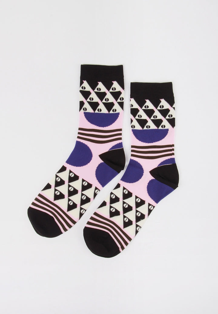 Womens Tile Socks - blue circle