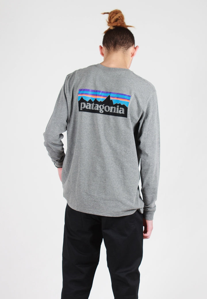 Patagonia P-6 Logo Responsibili-Tee Long Sleeve T-Shirt - gravel heather - Good As Gold