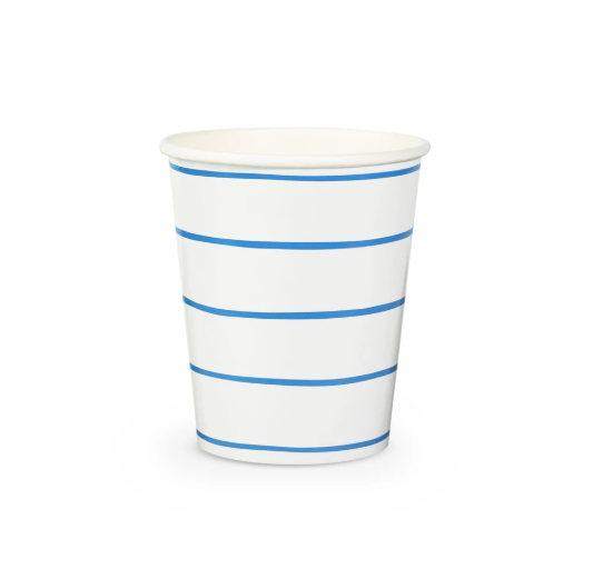 Cobalt Blue Striped Cups