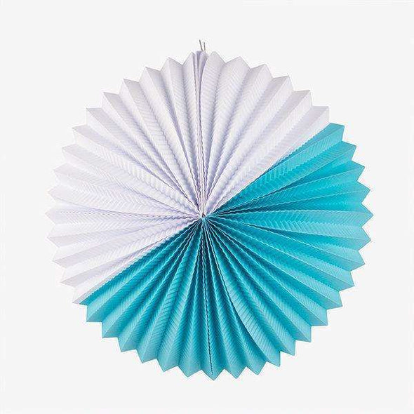 Paper Lantern - Turquoise and White