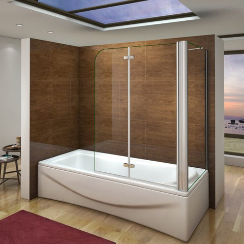 Mamparas Bañera Cristal 6mm Plegable con Panel Fijo Easyclean
