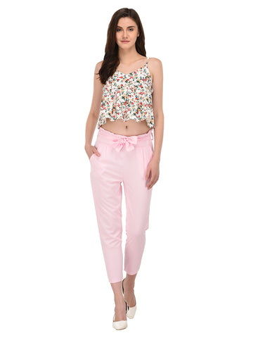 Lozanoo trendy cameo pink pant with knotted waist belt