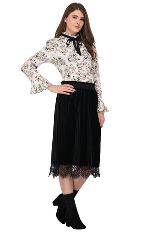 Lozanoo smart floral off white straight cut shirt top with pleated neck for formal and casual wear.
