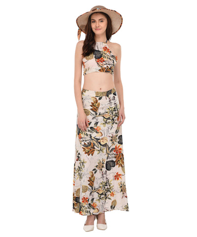 lozanoo two piece long skirt and blouse dress, Beach wear.