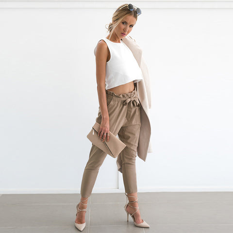 Lozanoo trendy khaki pant with knotted waist belt
